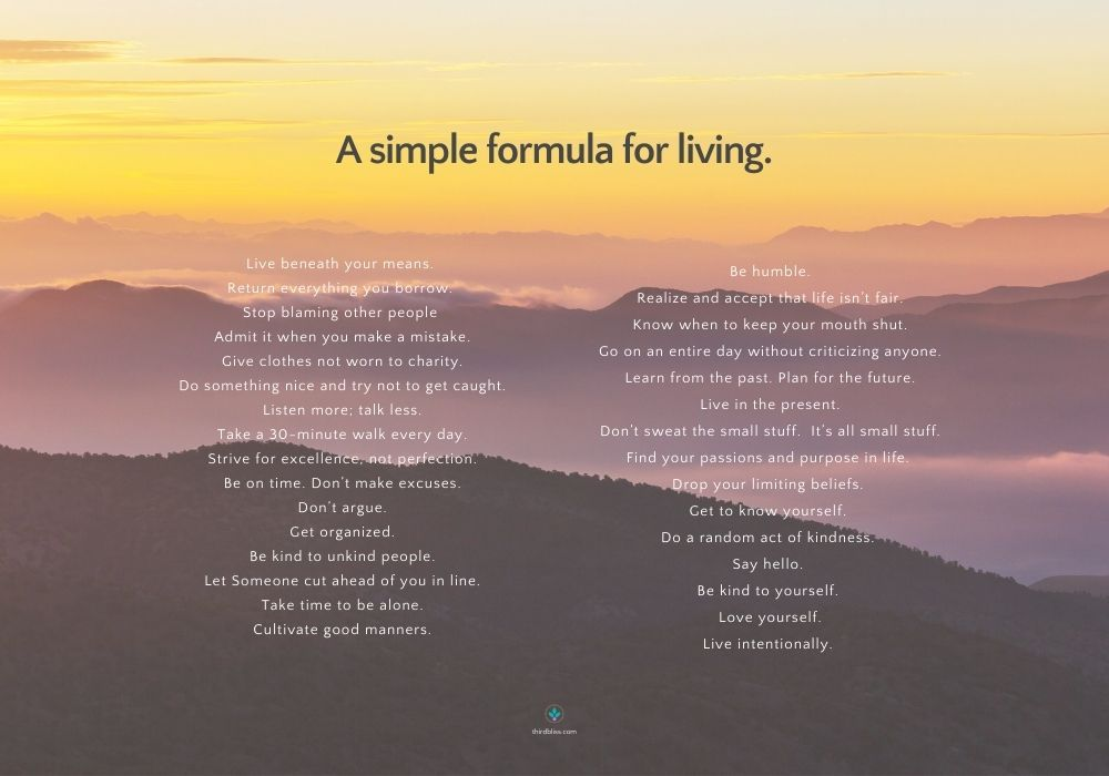 A simple formula for living.